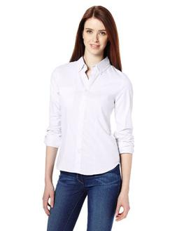 Lee Uniforms Juniors Long Sleeve Stretch Oxford Blouse, Ligh