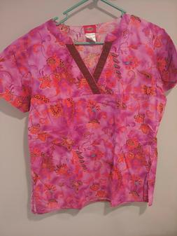 Dickies Uniforms Scrub Top Short Sleeve Floral Print Pink Re