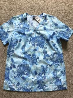 Barco Uniforms Womens Medical Scrub Top Paisley Floral Blue