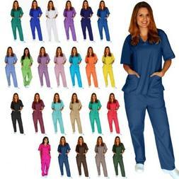 Men/Women Natural Uniforms Medical Nursing Scrub Set Top & P