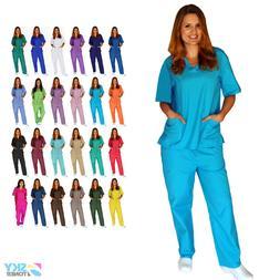Unisex Men/Women Scrub Set Top & Pants Uniforms Medical Hosp