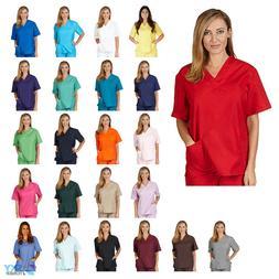 Unisex Men/Women V-Neck Scrub Top Only Medical Hospital Nurs