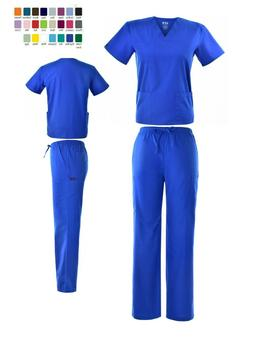 Unisex STRETCH  Scrub Sets Solid V-Neck Top Cargo Pant Men W