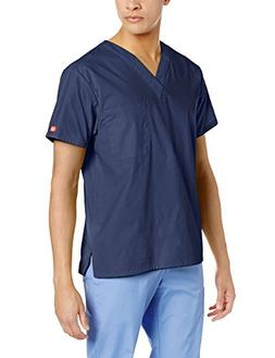 Dickies Unisex V-Neck Scrub Top, Navy, X-Large