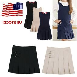 US Girls Kid Pleated Skirt Pinafore School Uniform Jumper We