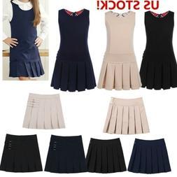 US Girls School Uniform Kids Children Pinafore Jumper Dress