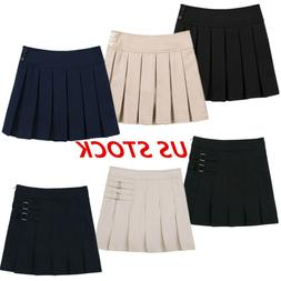 US Girls School Uniform Pleated Skirt Pinafore Jumper Dress