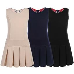 US Kid School Girl Short Skirt Pleated Hem Dress Uniform Jum