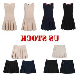 US School Girls Uniform Kids Students Pinafore Jumper Dress