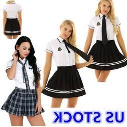 US Sexy Women Lingerie School Girl Uniform Cosplay Costume T