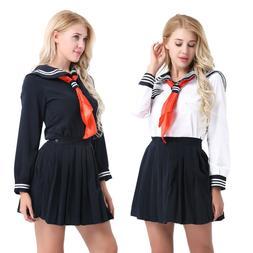 Japanese Long-Sleeved Sailor Uniform Dress School Girl Cospl