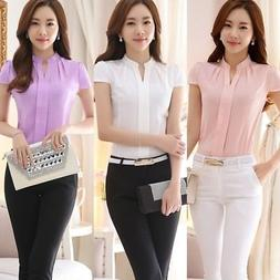 US Women's Cotton Tops OL Lady Work Formal Shirt Office Unif