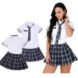 USA Naughty Women School Girl Uniform Student Fancy Skirt To