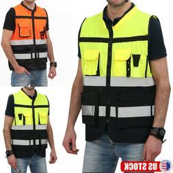 Vest Reflective High Visibility Hi Vis Safety Zip Front Work