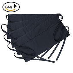 BOHARERS Waist Apron 4 Pack - with 3 Pockets Black Waitress