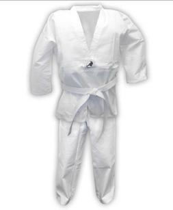 White Taekwondo Uniforms V Neck with Free White Kids/ Adults
