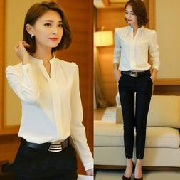 Women Fashion Formal Cotton White Shirt Office OL Work Unifo