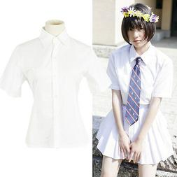 Women JK Student School White Short Sleeve Blouse Uniform Sh
