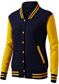 CLOVERY Women's Baseball Uniform Style Long Sleeve Jacket NA