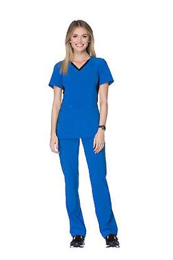 Cherokee Women's CK605 V-Neck Scrub-Royal/Black