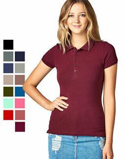 Women's Classic Jersey Polo Short Sleeve Top Button Up Unifo