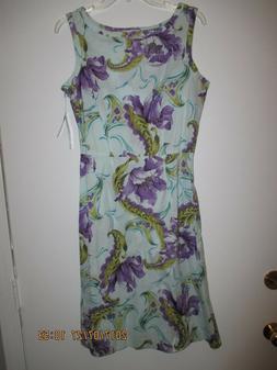 WOMEN'S CLOTHING Size 10 Floral Dress Cotton & Spandex New w