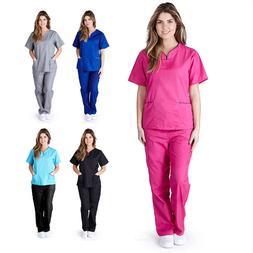 Women's Contrast Scallop Medical Hospital Nursing Uniform Sc