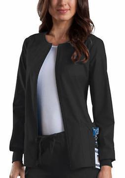 Cherokee Women's Long Sleeve Patch Pocket Zip Front Warm Up