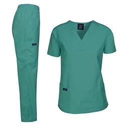 Dagacci Medical Uniform Women's Medical Scrub Set Top and Pa