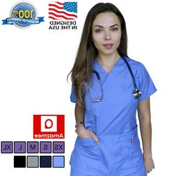 Women's Medical Scrubs Uniform Set V-neck Wrap Top with Red