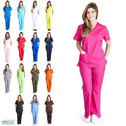Womens Mock Wrap Medical Hospital Nursing Clinic Scrub Set U