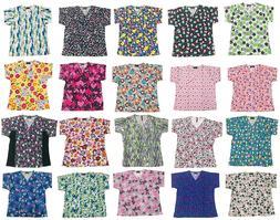 Women's Nursing Scrub Tops Printed Medical Uniforms Plus Siz