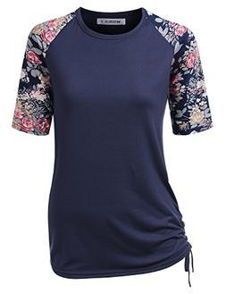 CLOVERY Women's School Uniform Raglan Short Sleeve Round Nec