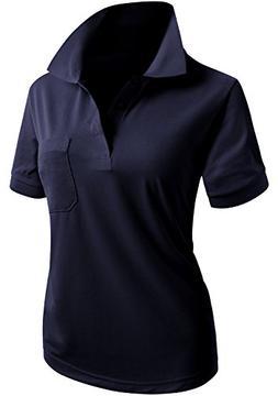CLOVERY Women's School Uniform Short Sleeve Basic Polo Shirt