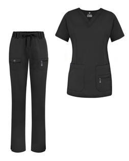 Adar Uniforms Women's Scrub Set - Enhanced V-Neck Top/Multi