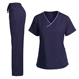 Women's Scrub Set Stretch Top and Pants Navy & Ceil Blue XS