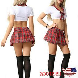 Women's Sexy Lingerie School Girl Uniform Plaid Skirt Role P