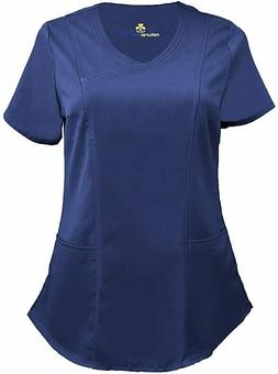Natural Uniforms Women's Soft Modern Fit Mock Wrap Scrub Top