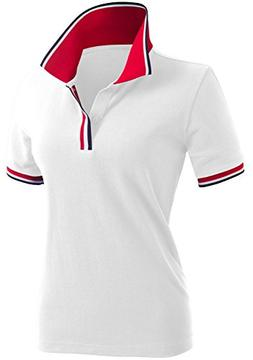 CLOVERY Women's Team Uniform Short Sleeve Polo Shirts White