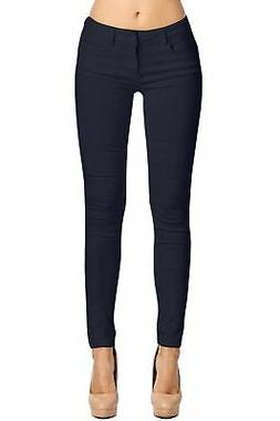 2LUV Women's Trendy Skinny 5 Pocket Stretch Uniform Pants Na