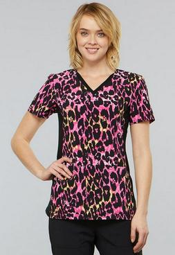 Cherokee Women's V-Neck Contrast Panel Animal Print Scrub To