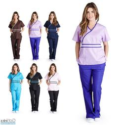 Womens Contrast Mock Wrap Medical Hospital Nursing Uniform S