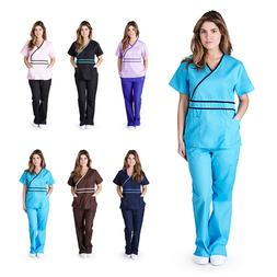 Womens Contrast Mock Wrap Medical Nursing Uniform Scrub Set