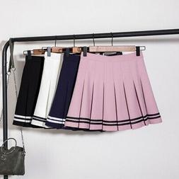 Womens High Waist School Uniform Girls Pleated Tennis Skater