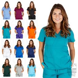 Womens UltraSoft Junior Fit Mock Wrap Medical Nursing Unifor
