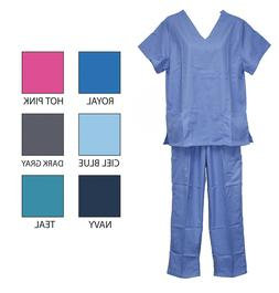 Womens Mens Medical Scrubs Sets Uniforms Tops Pants Unisex S