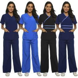 Womens Mock Wrap Medical Hospital Nursing Clinic Scrub Set U