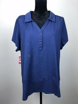 Avenue Womens Plus Size 22 / 24 Your Polo Blue Uniform Colla