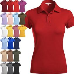 WOMENS POLO Shirts Premium Soft Short Sleeve Casual Uniform