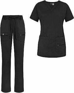 Adar Uniforms Women's Scrub Set - Enhanced V-Neck Top/Mult